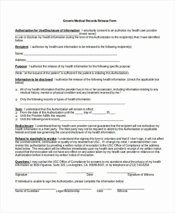 Medication Release form Template Unique 10 Medical Release forms Free Sample Example format