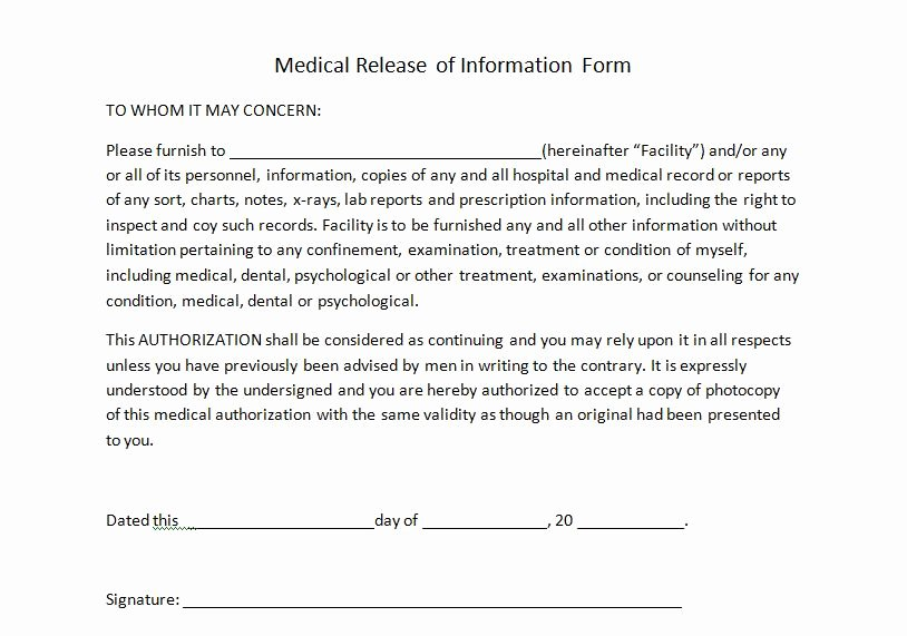 Medication Release form Template Unique Personal Trainer forms