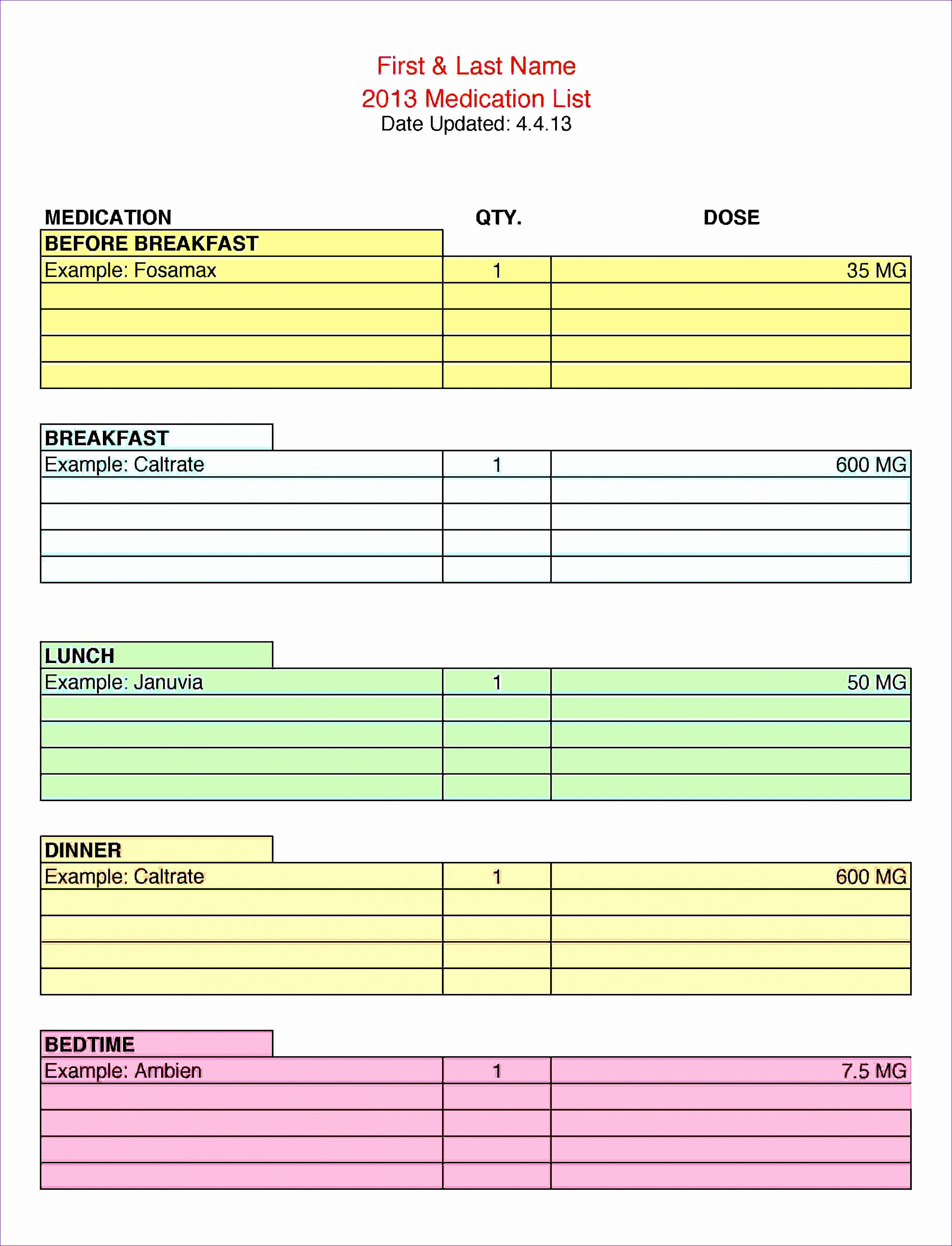 Medication Schedule Template Excel Awesome 8 Excel Quarterly Calendar Template Exceltemplates
