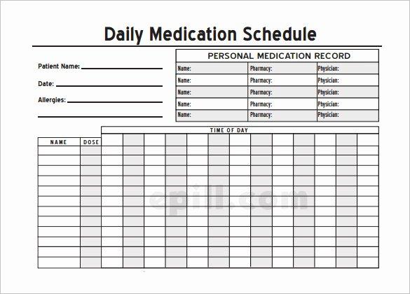 Medication Schedule Template Excel Luxury Medication Schedule Template 14 Free Word Excel Pdf