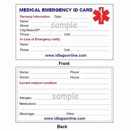 Medication Wallet Card Template Best Of 100 Medical Emergency Wallet Cards for Medical Alert Id