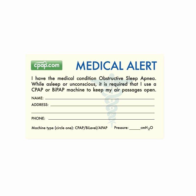 Medication Wallet Card Template Best Of Cpap Cpap Sleep Apnea Medical Alert Wallet Card