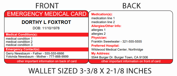 Medication Wallet Card Template Elegant Medical History Card for Wallet Best Wallet