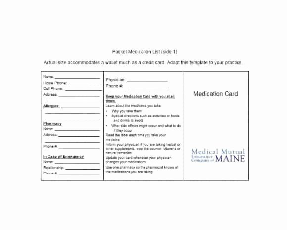 Medication Wallet Card Template Inspirational 58 Medication List Templates for Any Patient [word Excel
