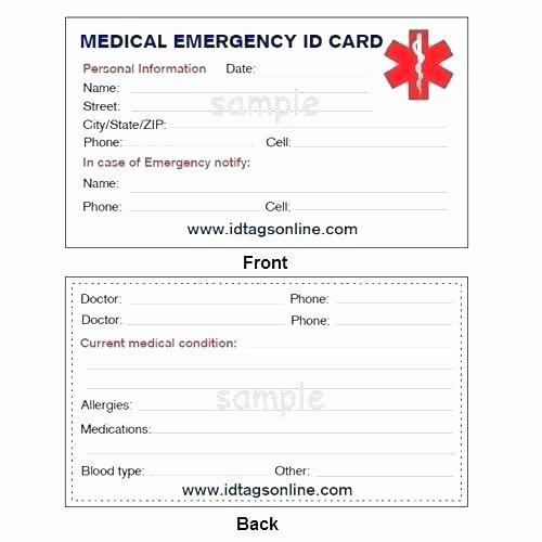 Medication Wallet Card Template Inspirational Wallet Id Card Template Medical Emergency for Alert