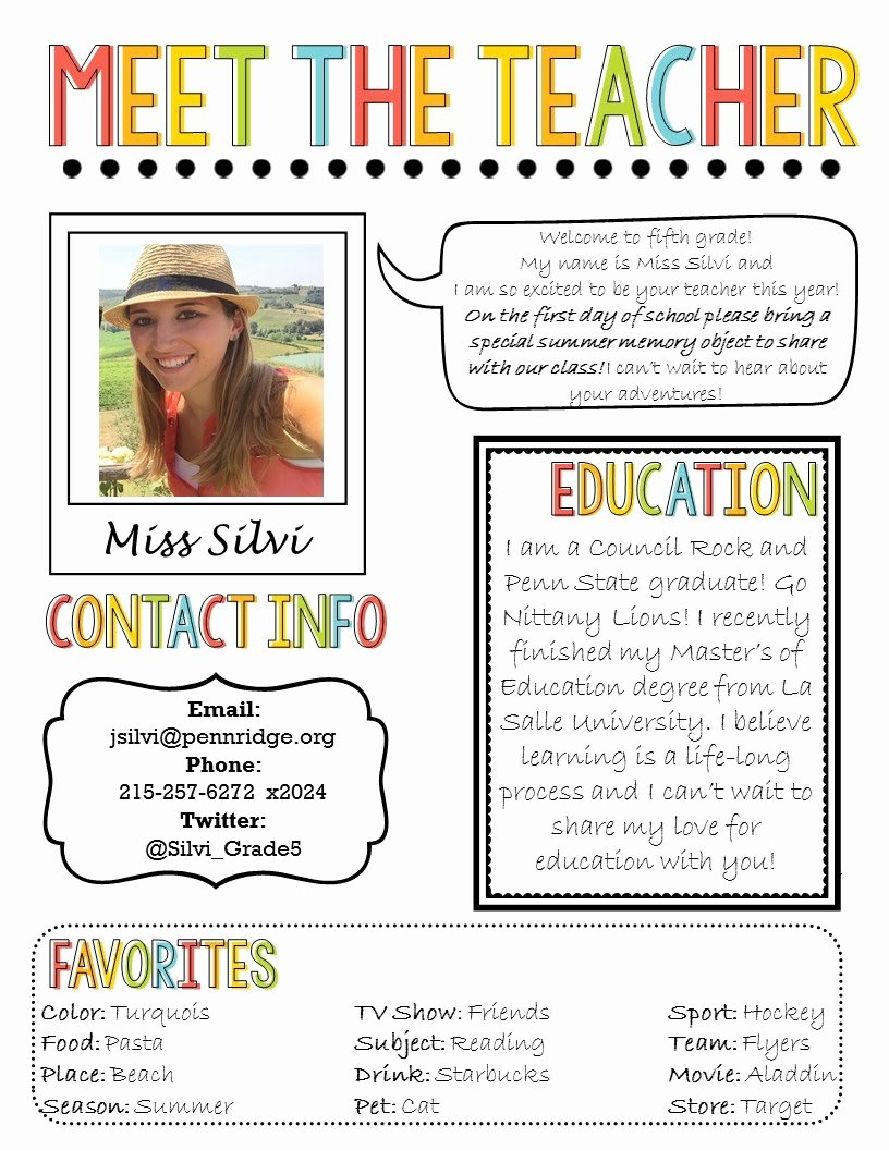 Meet the Teacher Template Best Of Silvi Seylar Fifth Grade