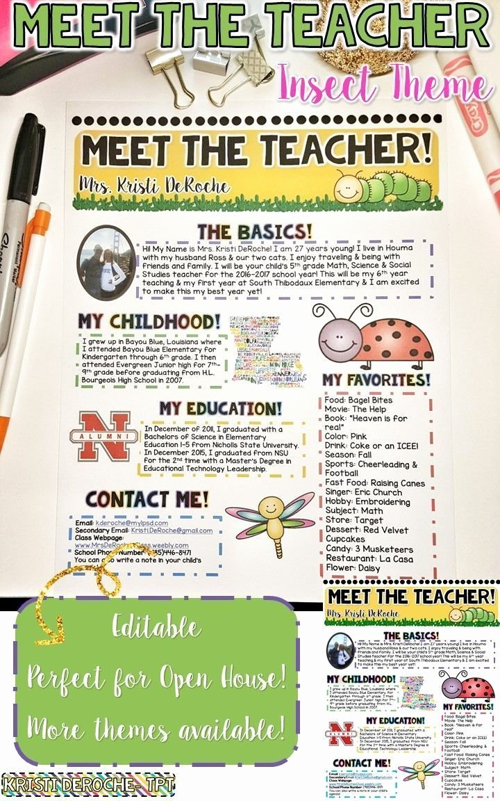 Meet the Teacher Template Luxury Meet the Teacher Newsletter Editable Insect theme