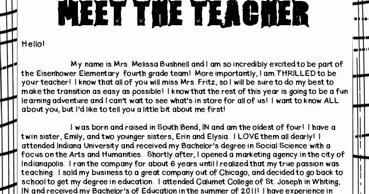 Meet the Teacher Template Luxury Mrs Bushnell S 4th Grade Meet the Teacher Letter
