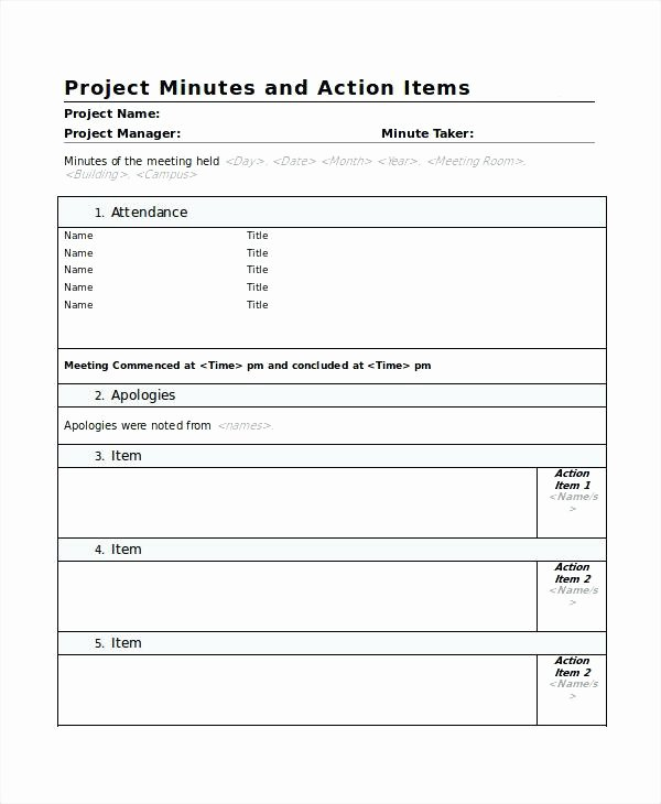 Meeting Action Items Template Best Of Meeting Minutes Template Free Minute Action Items Example