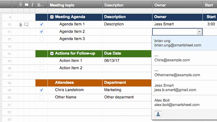Meeting Action Items Template Inspirational Smartsheet