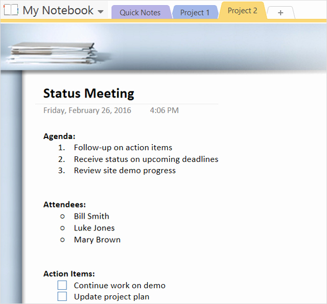Meeting Action Items Template Unique How to Adopt Enote Templates for Project Management