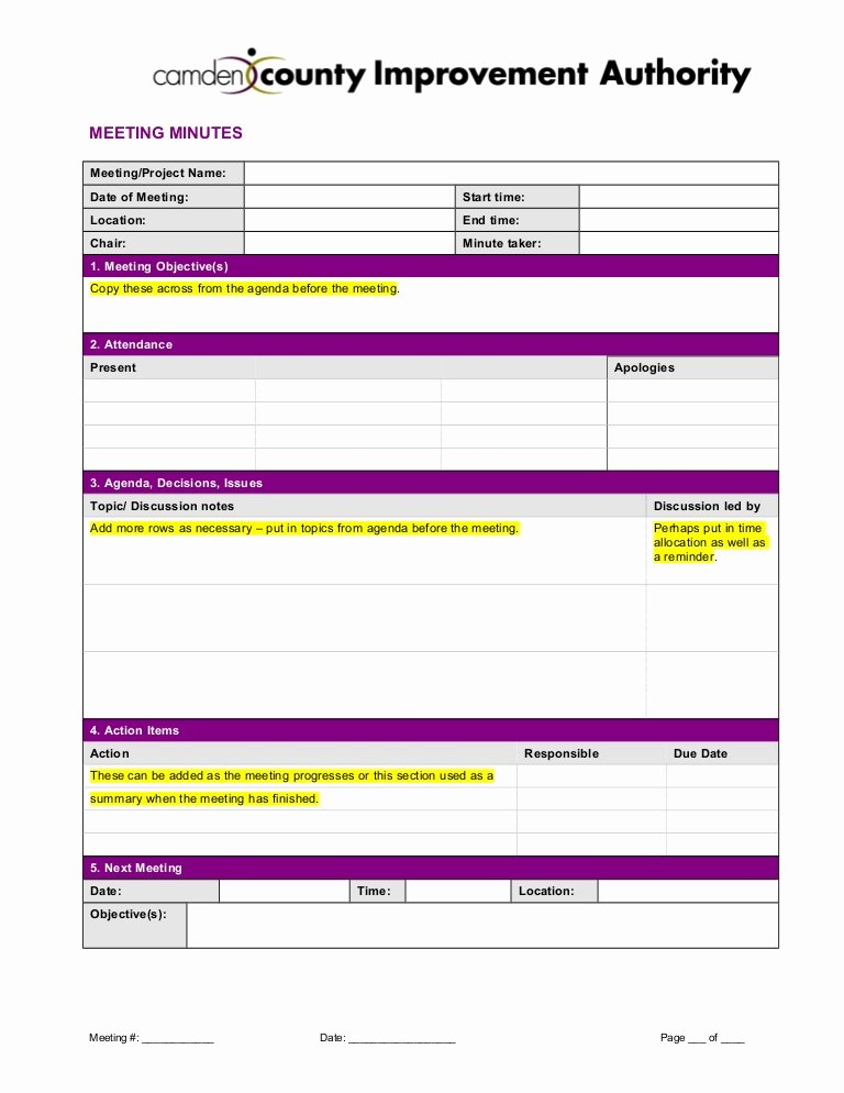 Meeting Minute Template Excel Fresh Meeting Minutes Template 2