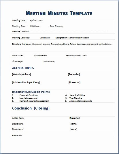 Meeting Minutes Template Excel Lovely formal Meeting Minute Templates for Ms Word C