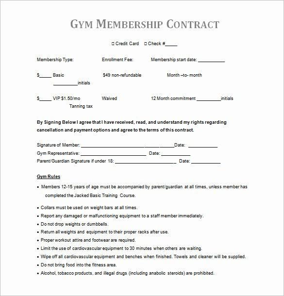 Membership Agreement Template Free Awesome 16 Gym Contract Templates Word Docs Pages
