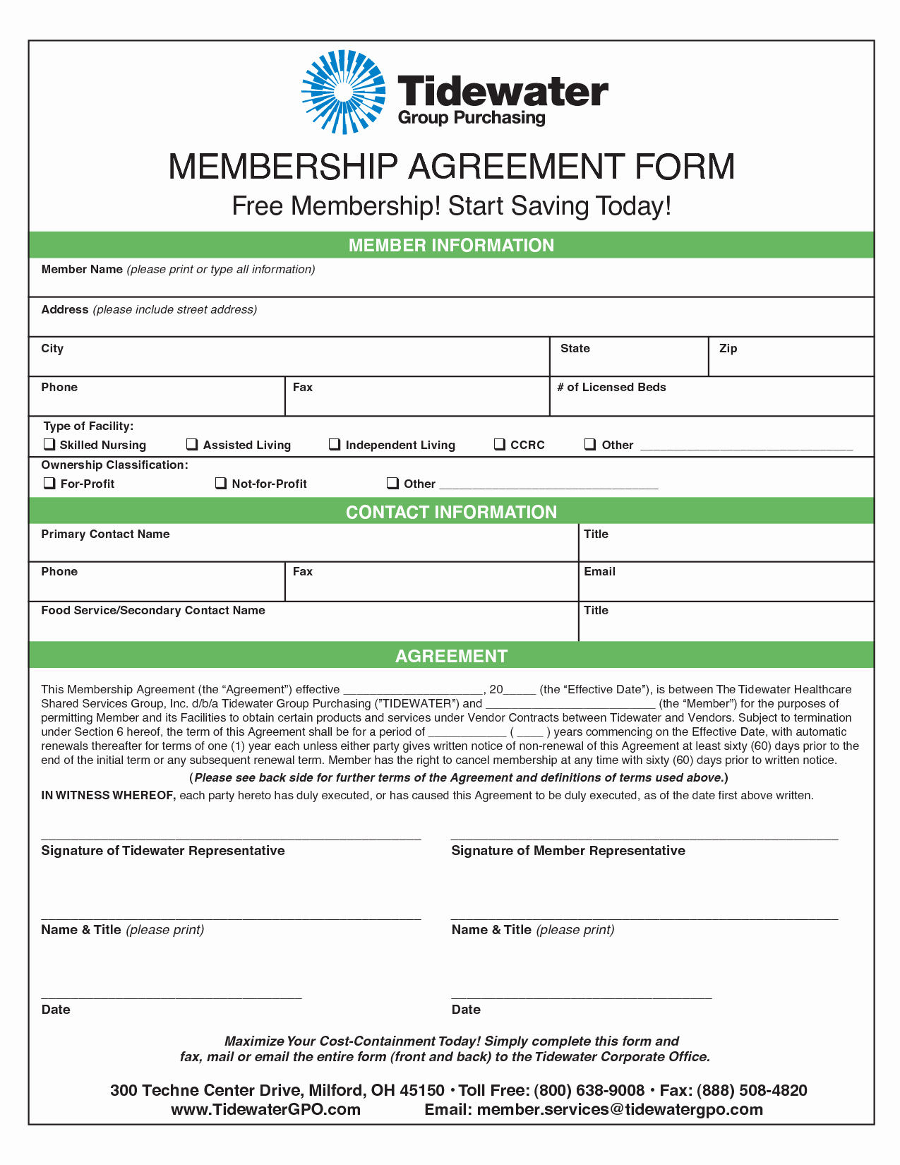 Membership Agreement Template Free Elegant Membership Agreement