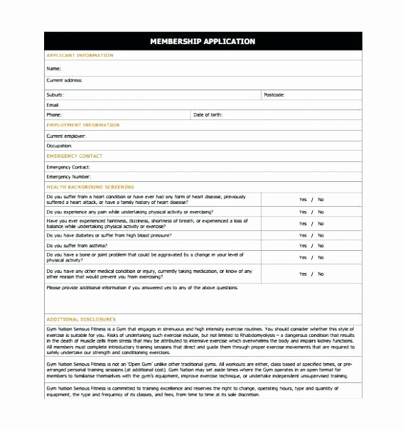 Membership Agreement Template Free Fresh Gym Application form Template Word Gym Membership