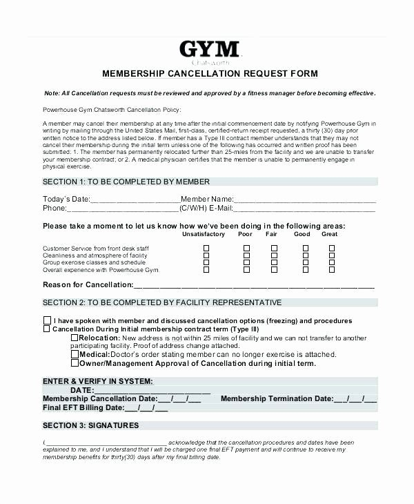 Membership Agreement Template Free Lovely Sample Letter to Freeze My Gym Membership