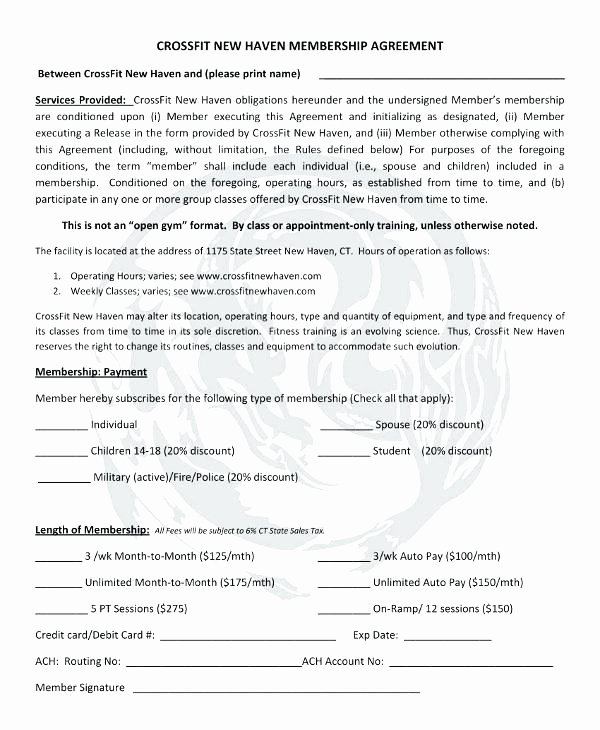 Membership Agreement Template Free Unique Membership Contract Template Gym Membership Contract