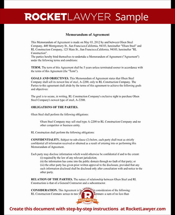 Memo Of Understanding Template Awesome Memorandum Of Agreement Moa form Cooperative Agreement