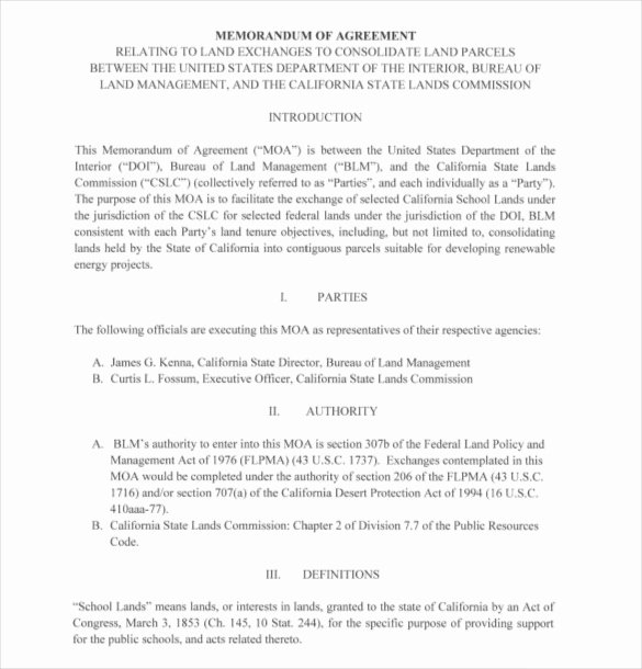 Memo Of Understanding Template Fresh 15 Memorandum Of Agreement Templates Pdf Doc