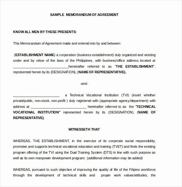 Memo Of Understanding Template Inspirational 15 Memorandum Of Agreement Templates Pdf Doc