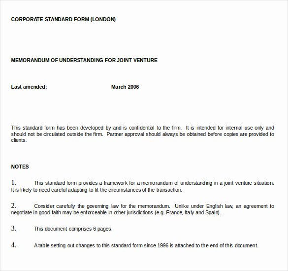 Memo Of Understanding Template Inspirational Memorandum Of Understanding Template 20 Word Pdf