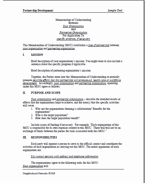 Memo Of Understanding Template New Sample Memorandum Of Understanding Mou Summer Matters