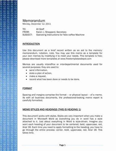 Memo Template for Word Lovely Binary Code Technology Memo