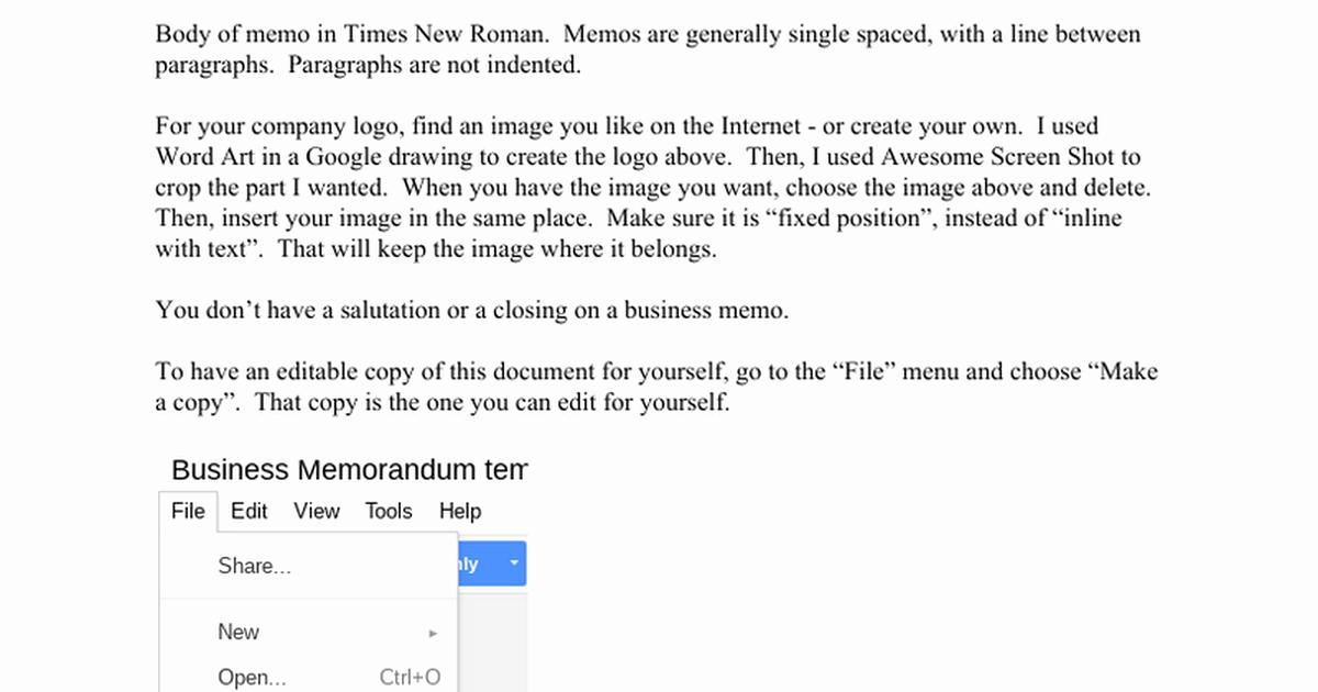 Memo Template Google Docs Beautiful Business Memorandum Template Make A Copy for Yourself