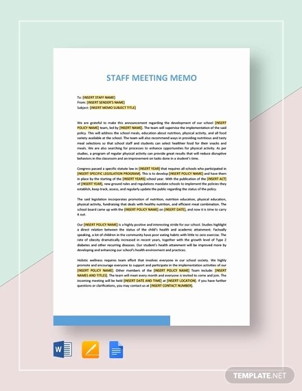 Memo Template Google Docs Beautiful Meeting Memo Template 20 Word Pdf Google Docs
