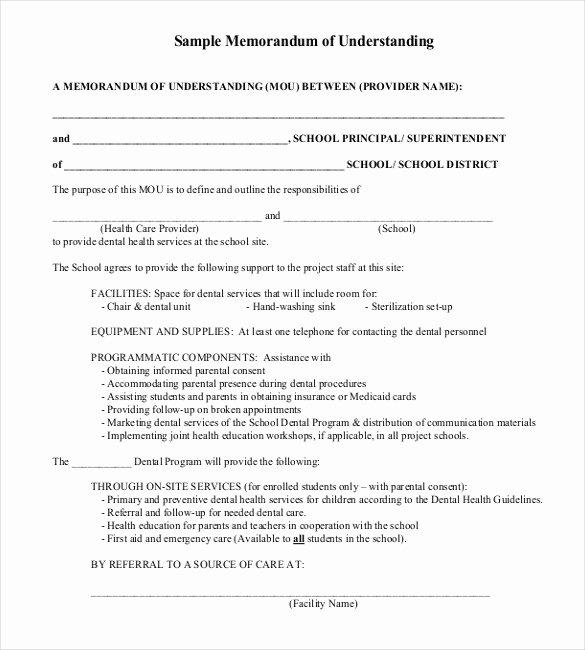 Memorandum Of Agreement Template Best Of 41 Memorandum Of Understanding Templates Pdf Google