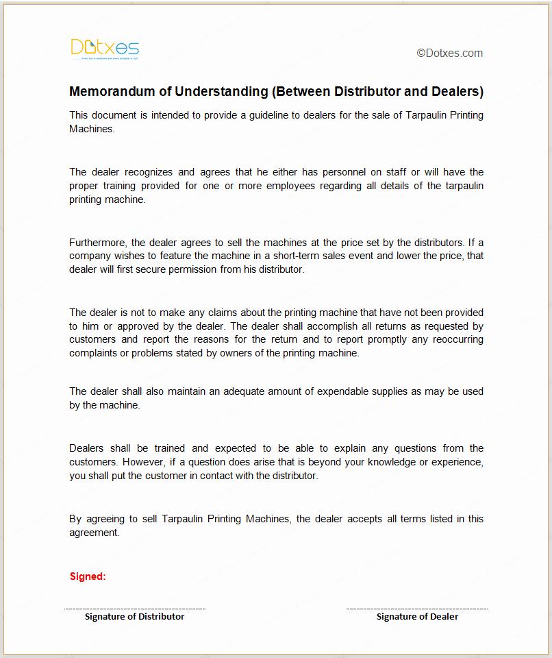 Memorandum Of Agreement Template Best Of Mou Template Between Distributor and Dealers Dotxes
