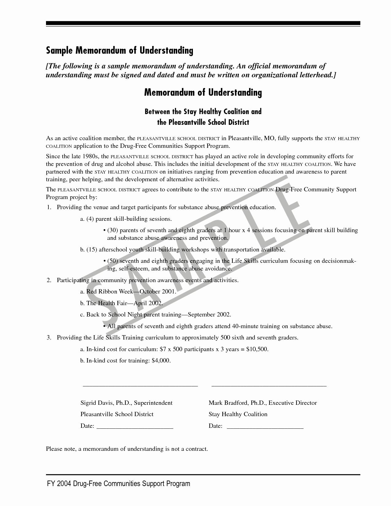 Memorandum Of Agreement Template Elegant 10 Best Of Example Memorandum Understanding