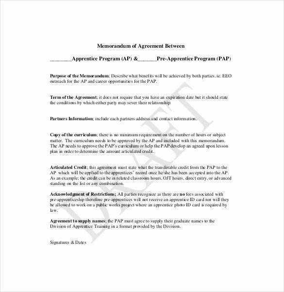 Memorandum Of Agreement Template Fresh 15 Memorandum Of Agreement Templates Pdf Doc