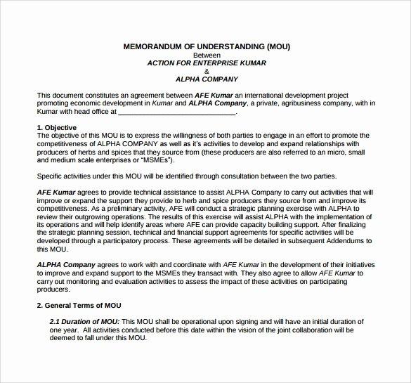 Memorandum Of Agreement Template Fresh 16 Sample Memorandum Of Understanding Templates to