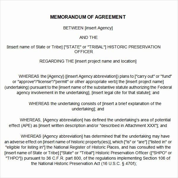 Memorandum Of Agreement Template Luxury Memorandum Of Agreement 14 Free Pdf Doc Download