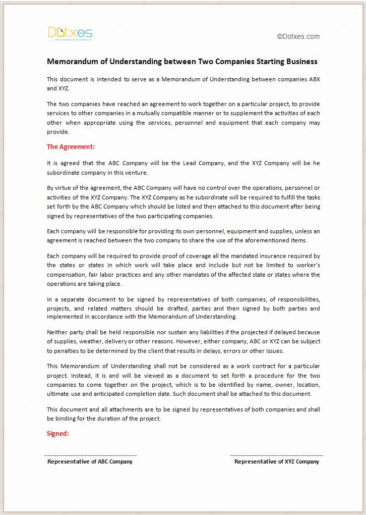Memorandum Of Agreement Template Luxury Memorandum Of Understanding Template Starting Business