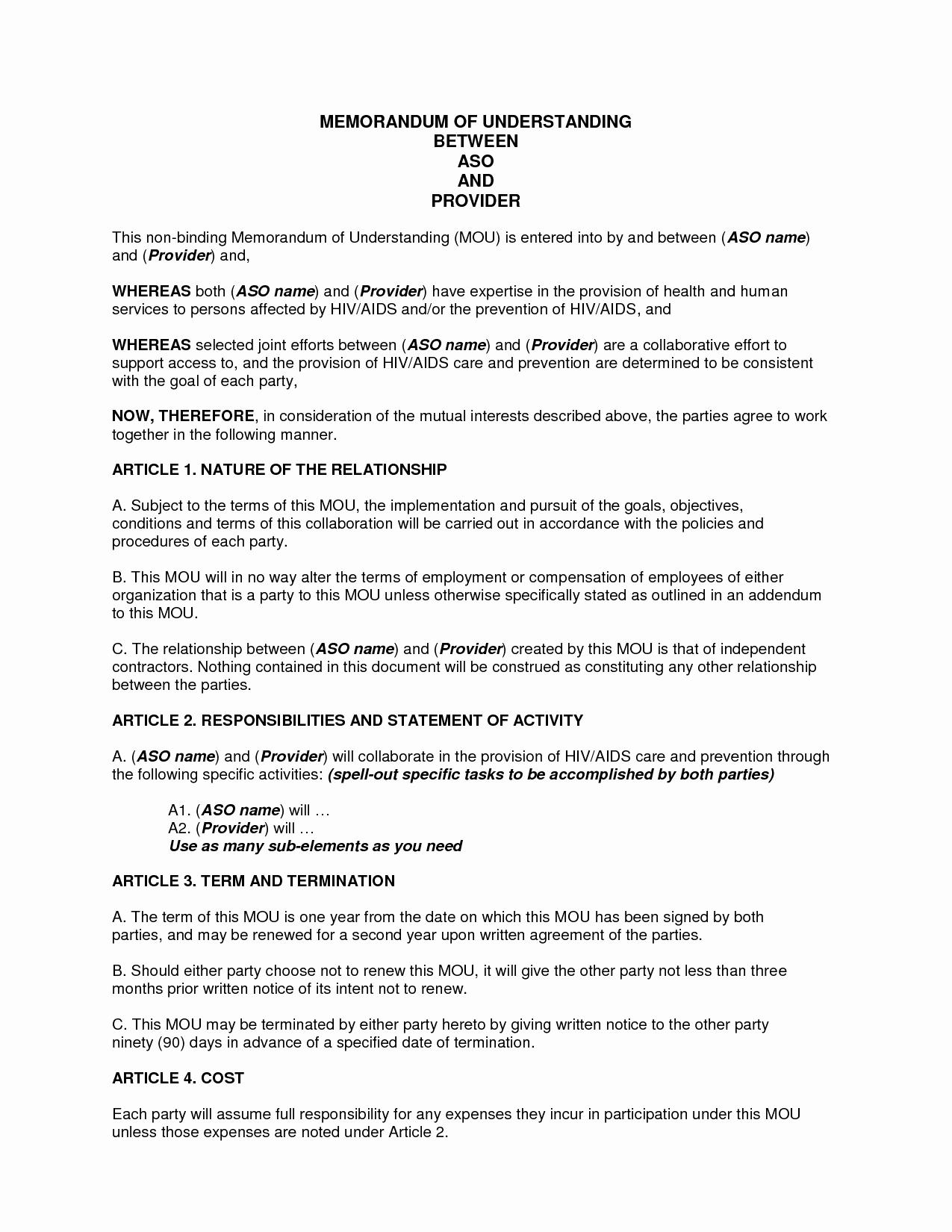 Memorandum Of Agreement Template Luxury Sample Memorandum Of Understanding Business Partnership