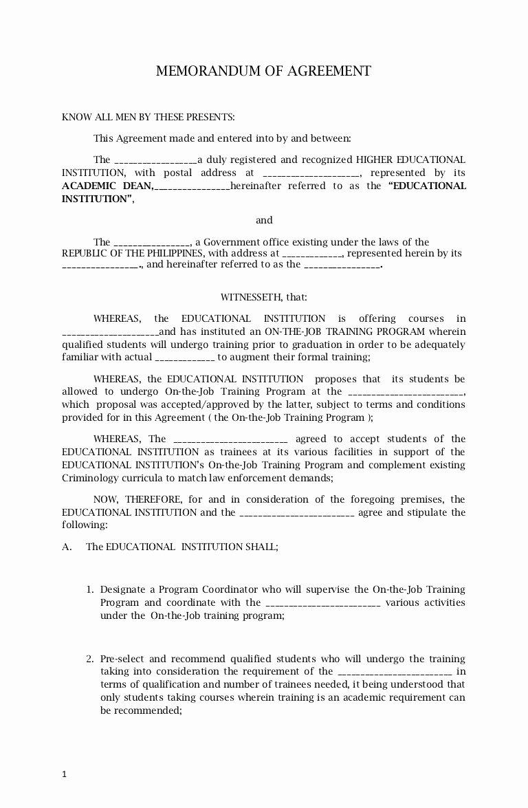Memorandum Of Agreement Template New Memorandum Agreement Sample