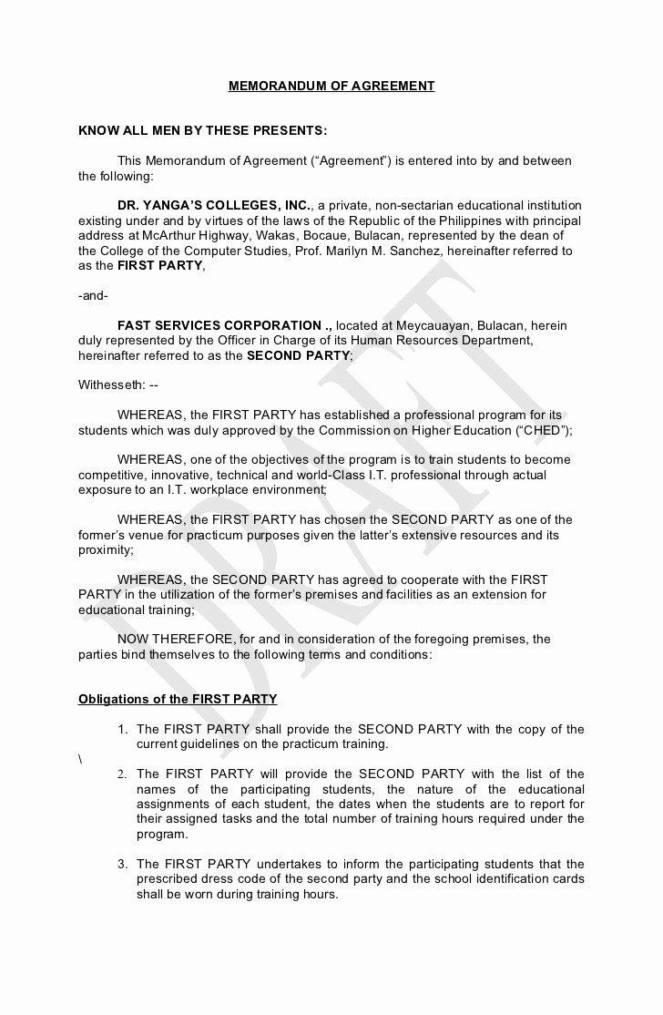 Memorandum Of Agreement Template Unique Memorandum Of Agreement