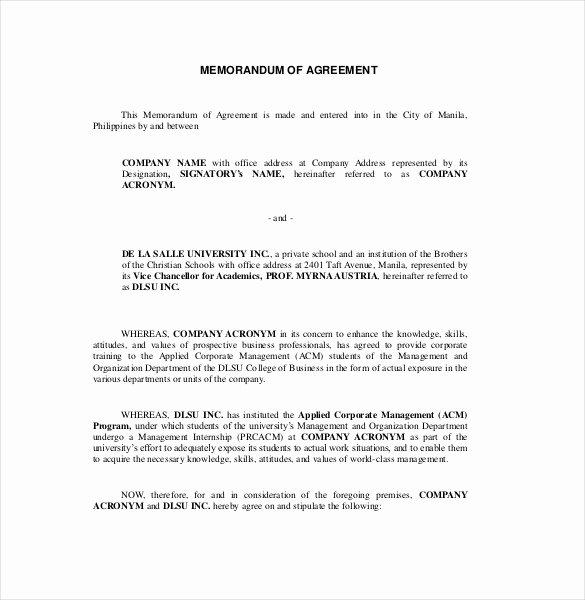Memorandum Of Understanding Template Beautiful 15 Memorandum Of Agreement Templates Pdf Doc