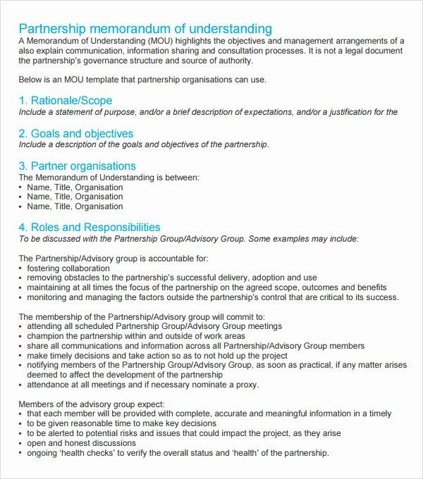 Memorandum Of Understanding Template Beautiful Memorandum Of Agreement 9 Free Pdf Doc Download