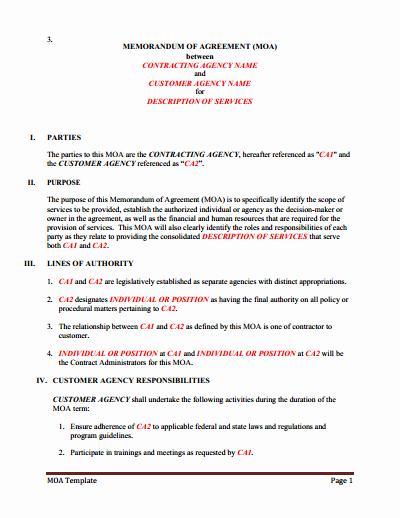 Memorandum Of Understanding Template Best Of Memorandum Of Understanding Download Edit Fill & Print