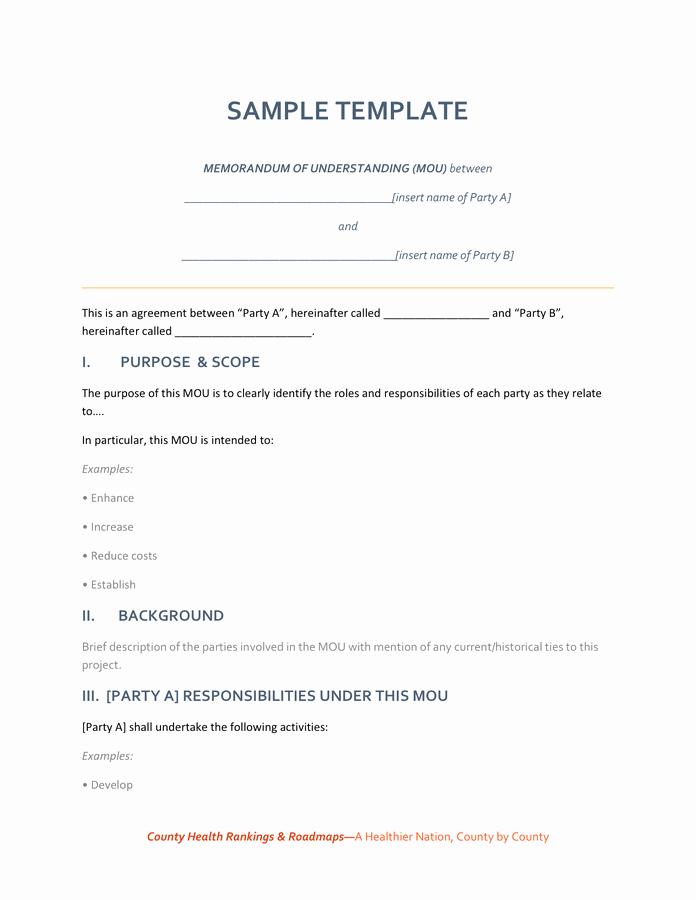 Memorandum Of Understanding Template Best Of Memorandum Of Understanding Sample Template In Word and