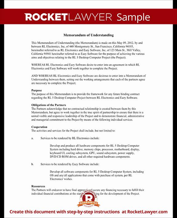 Memorandum Of Understanding Template Elegant Memorandum Of Understanding form Mou Template with Sample