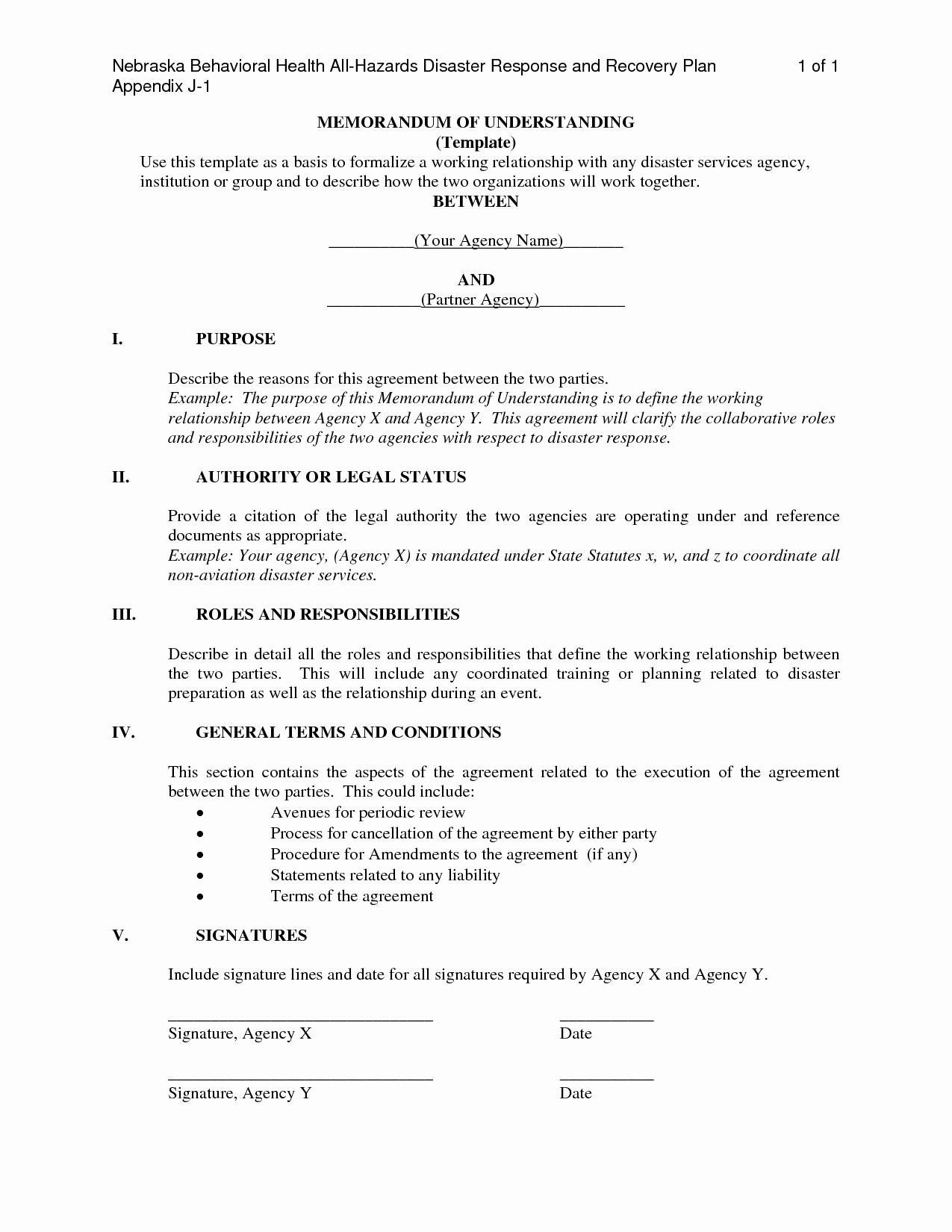 Memorandum Of Understanding Template Fresh Letter Understanding Template Free Printable Documents