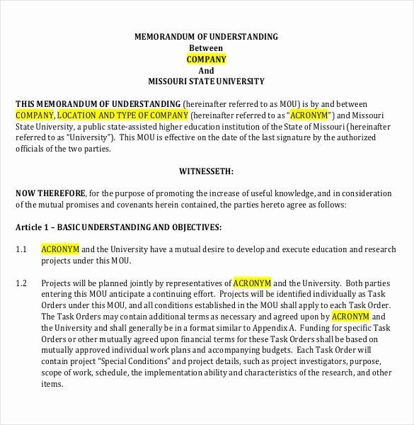 Memorandum Of Understanding Template Inspirational 41 Memorandum Of Understanding Templates Pdf Google