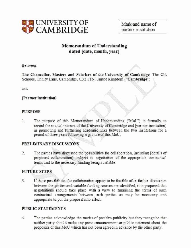 Memorandum Of Understanding Template New 50 Free Memorandum Of Understanding Templates [word]