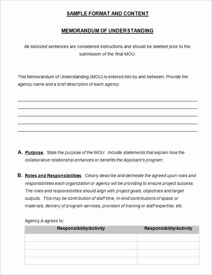 Memorandum Of Understanding Template Unique Memorandum Of Understanding Template 4 Free Word Pdf