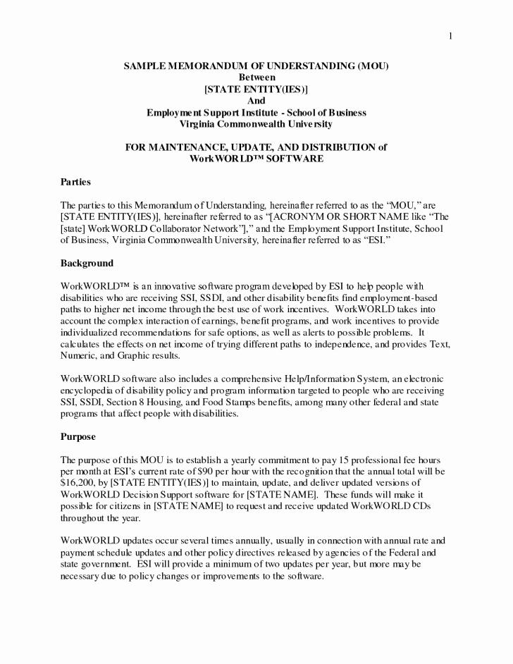Memorandum Of Understanding Template Unique Template Memorandum Understanding Template
